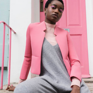 PINK NEOPRENE JACKET FEATURED IN LUCY'S MAGAZINE