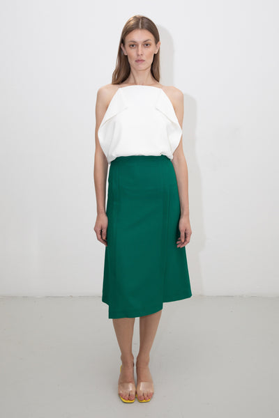 riona treacy green skirt white top ss20