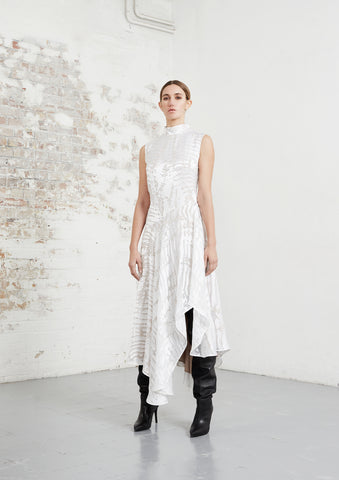 riona treacy shibori white devore dress asymmetric aw20