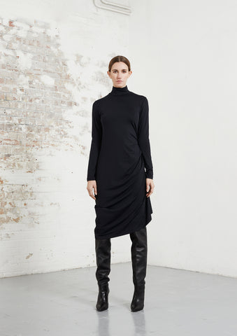 riona treacy black asymmetric dress aw20