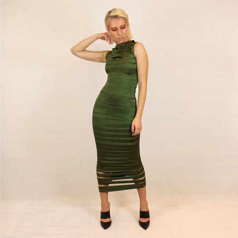 green bandage dress body con