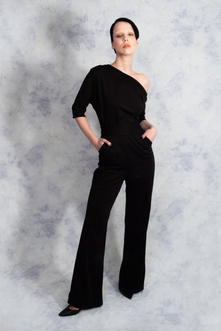 black jumpsuit riona treacy one shoulder
