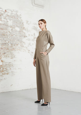 riona treacy vegan leather jumpsuit aw20