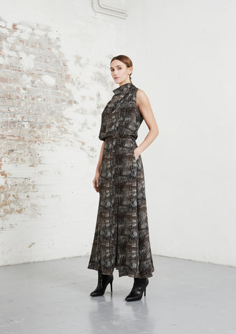 riona treacy shibori cowl neck dress aw20