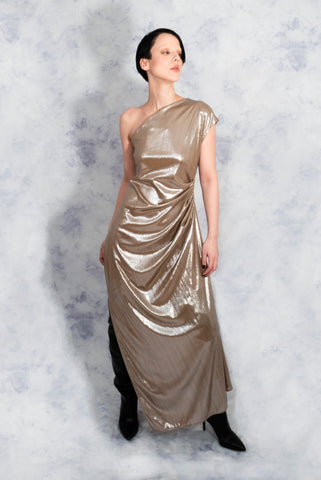 Gold one shoulder goddess dress riona treacy