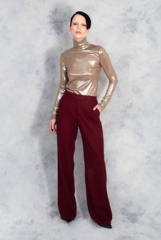 gold top red trousers riona treacy
