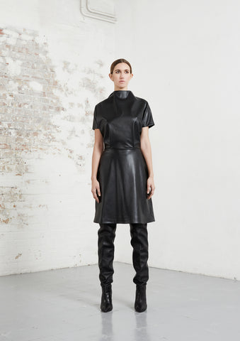 riona treacy black vegan leather kimono dress aw20