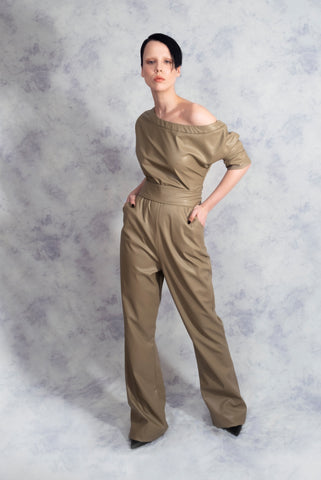 vegan leather jumpsuit riona treacy
