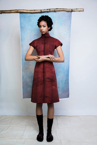 riona treacy neoprene shibori red dress