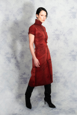 Red Collar Kimono Dress riona treacy tie dye shibori