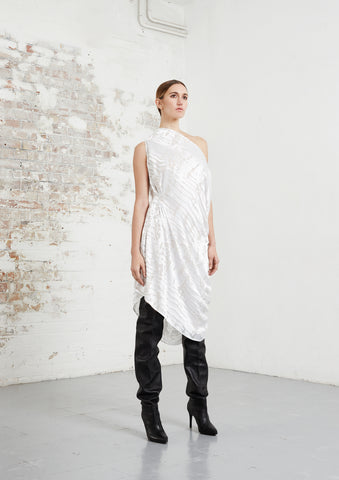 riona treacy asymmetric white silk dress aw20