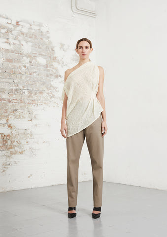 riona treacy wool rhombus top vegan leather peg trousers aw20