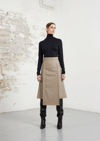 Riona Treacy Vegan Leather Skirt Black Jersey Top AW20