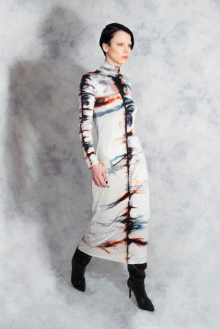 silk poloneck dress riona treacy tie dye