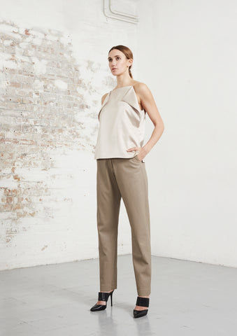 riona treacy satin top vegan leather trousers aw20
