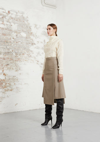 riona treacy kilt skirt vegan leather wool jumper top aw20