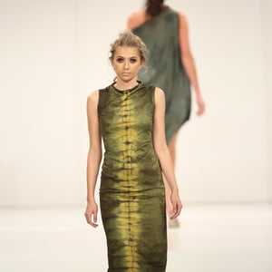 GREEN SHIBORI SNAKE DRESS