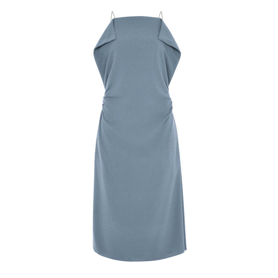 BLUE ORIGAMI CAMISOLE DRESS