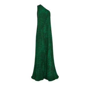 GREEN SHIBORI TRAPEZE MAXI DRESS