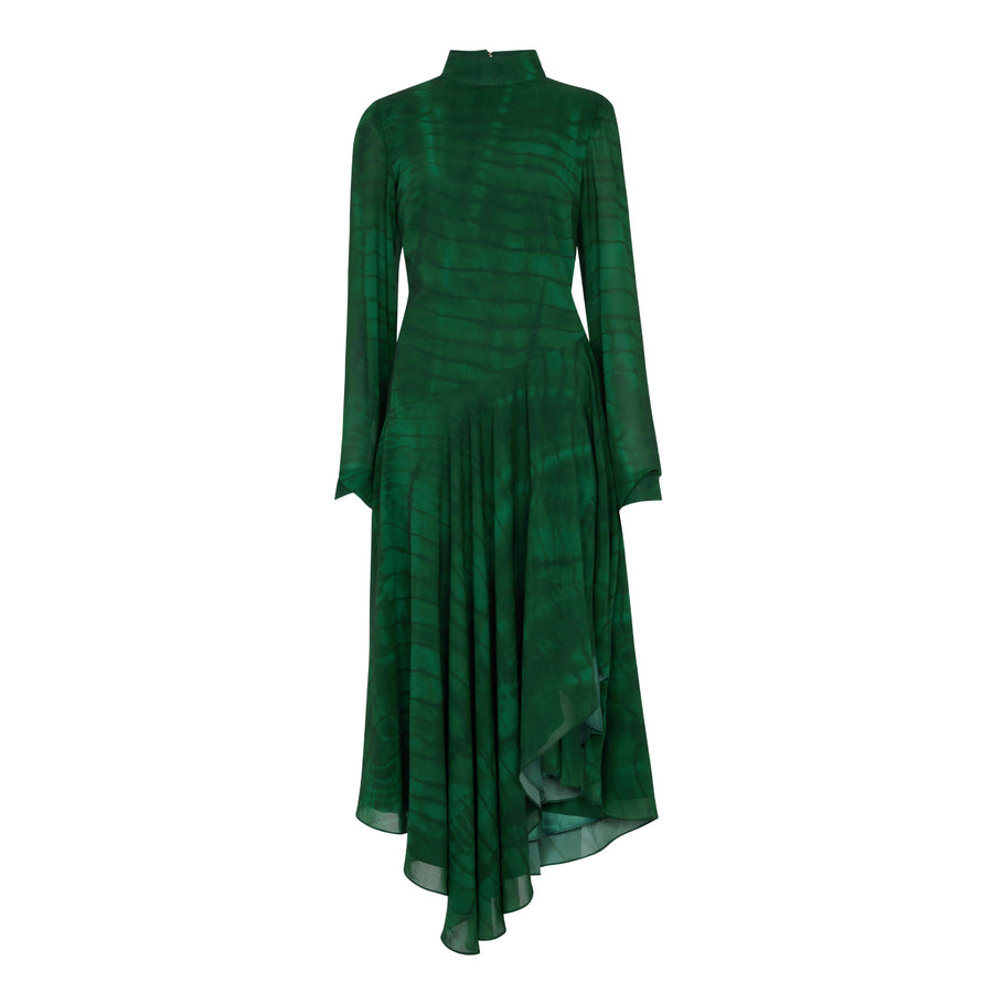GREEN SHIBORI GUEST DRESS