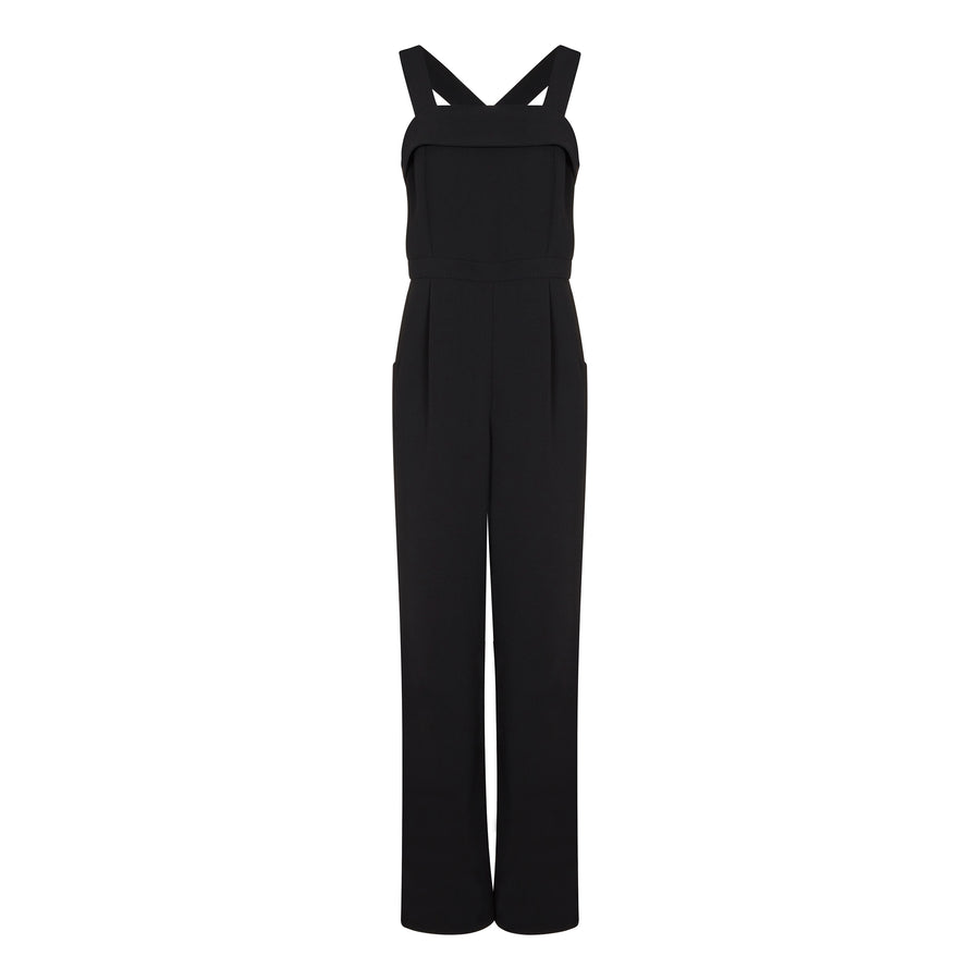 BLACK PINAFORE JUMPSUIT