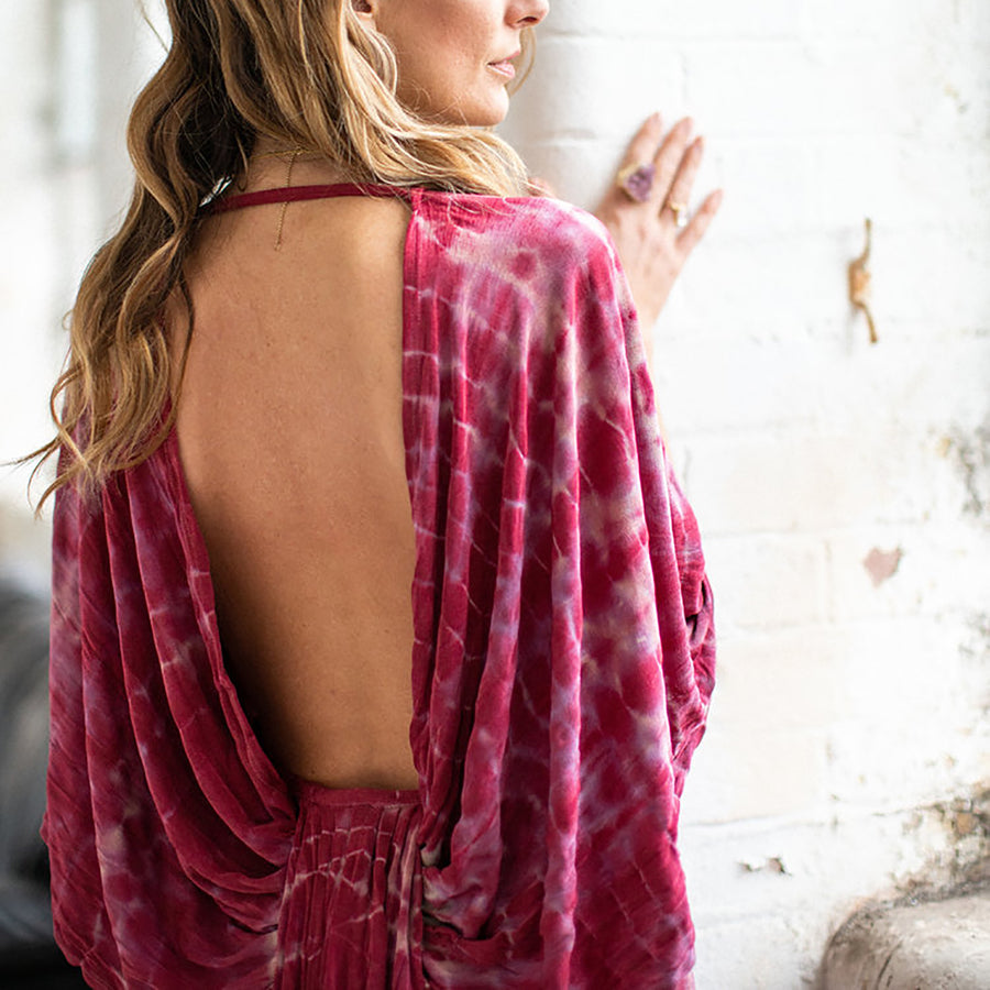 PINK BACKLESS KIMONO DRESS