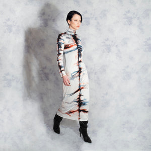 SILK SHIBORI POLO NECK DRESS