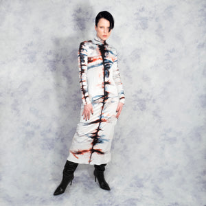 SILK SHIBORI POLONECK DRESS