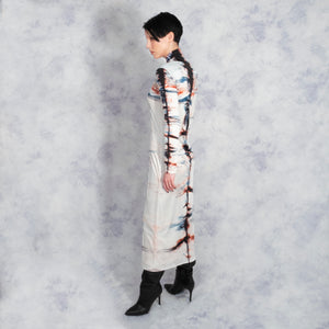 SILK SHIBORI TURTLENECK DRESS