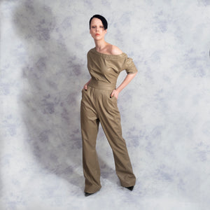 ONE SHOULDER JUMPSUIT Vegan Leather Riona Treacy Camel