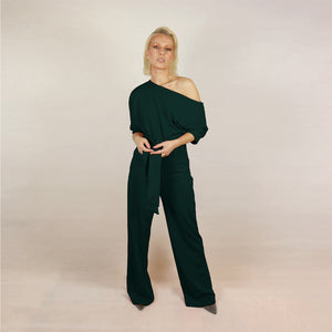 One Shoulder Green Jumpsuit