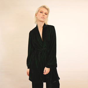 GREEN VELVET WRAP KIMONO DRESS JACKET