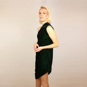GREEN VELVET RHOMBUS DRESS