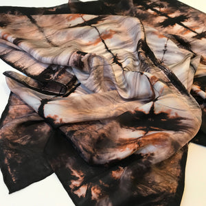 BLACK SILK TIGER SCARF