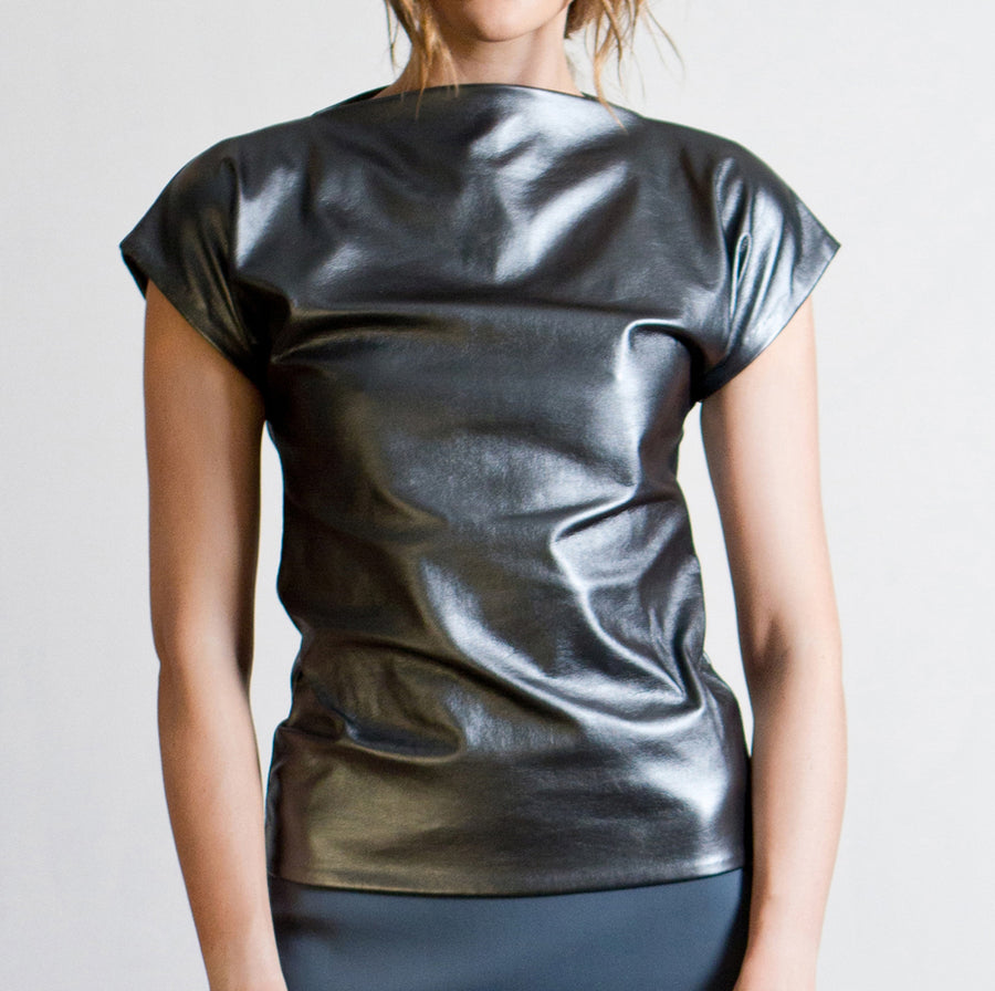 Metallic Blue VEGAN LEATHER Riona Treacy Top