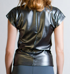 METALLIC VEGAN LEATHER TOP