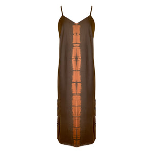 Brown & Orange Tie Dye Camisole Slip Dress