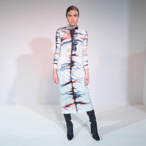 riona treacy SILK SHIBORI POLONECK DRESS aw19 tie dye