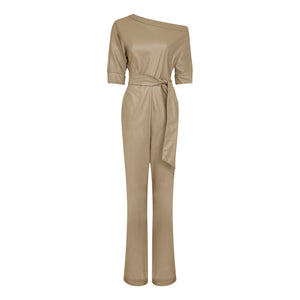 ASYMMETRIC VEGAN LEATHER JUMPSUIT