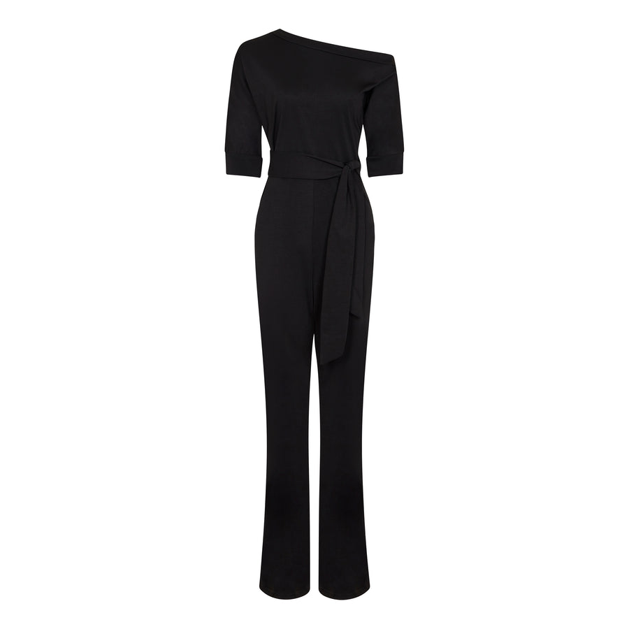Petite One Shoulder Jumpsuit Black