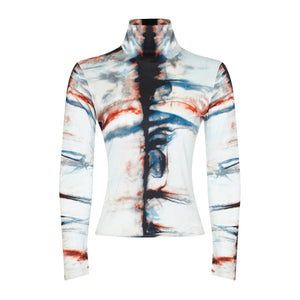 SILK SHIBORI TURTLENECK TOP