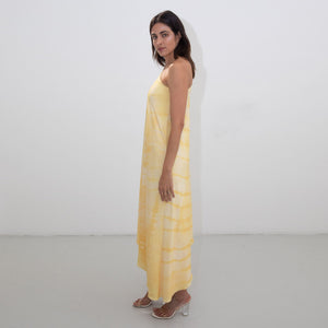 YELLOW SHIBORI ASYMMETRIC DISCO DRESS