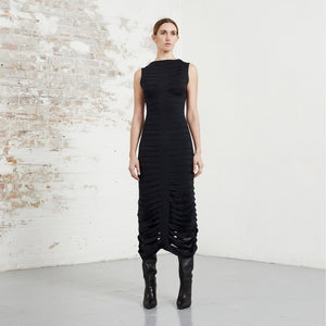 BLACK RIBBONS DRESS SLASH JERSEY RIBBONS RIONA TREACY AW20