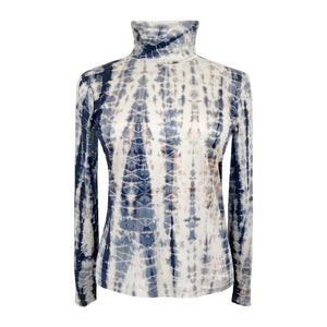 SILK TIE DYE POLO NECK TOP