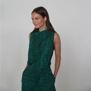 GREEN SHIBORI SCARF HALTER DRESS
