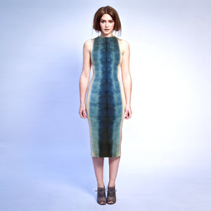 GOLD & BLUE SHIBORI SHARK DRESS