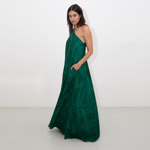 GREEN SHIBORI TRAPEZE DRESS