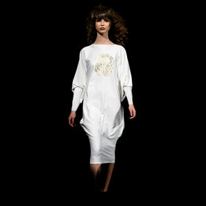 White Ghost Dress with Gold Brain Print
