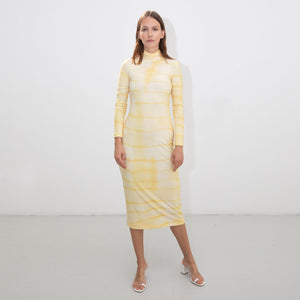 YELLOW SHIBORI TURTLENECK DRESS