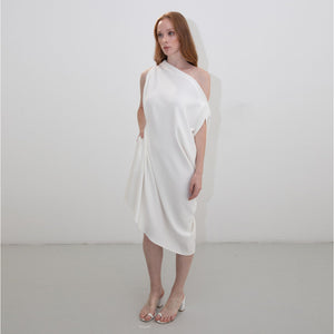 ASYMMETRIC IVORY RHOMBUS DRESS